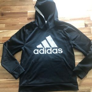 Adidas boys size 10/12 black and white hoodie